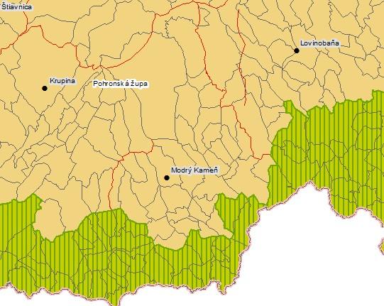 Okres M. Kameň a územia obsadené Maďarskom počas 2. sv. vojny (zdroj)