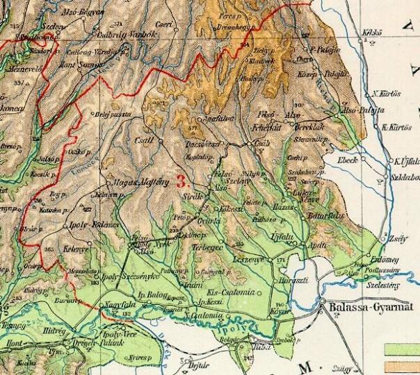 Okres V. Čalomija na mape Hontu zo začiatku 20. storočia (zdroj)
