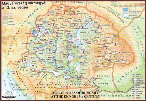 Uhorské župy v 13. storočí (zdroj)