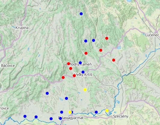 Náleziská z doby bronzovej (žltá - hatvanská, modrá - pilinská, červená - kyjatická)