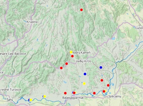 Náleziská z doby železnej (modrá - halštatská, červená - laténska, žltá - rímska)